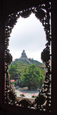 View of Tian Tan Buddha statue (chin. 天壇大佛) in Ngong Ping, Lantau Island Hong Kong