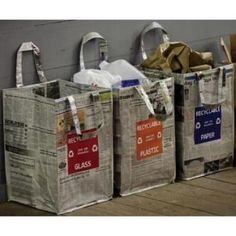 Home Decorators Collection - 18 in. x 12 in. Newspaper Print Recycling Bag for Paper - Made of entirely recycled materials. Easy to clean and a great way to keep your recyclables organized. Kids Storage, Storage Baskets, Storage Organization, Recycling Containers, Recycling Bins, Recycling Ideas, Recycled Crafts, Recycled Materials, Newspaper Crafts