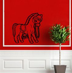 Wall Decor Vinyl Decal Sticker    	  horse stirrups saddle  DA1423 #Stickalz