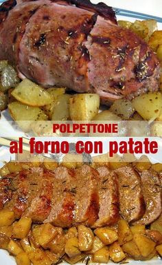 Baked meatloaf with potatoes - al forno con patate – Baked meatloaf with potatoes - Meatloaf Recipes, Meat Recipes, Snack Recipes, Dinner Recipes, Healthy Recipes, Meat Cooking Times, Kids Cooking Recipes, Cooking Wine, Cooking For A Group