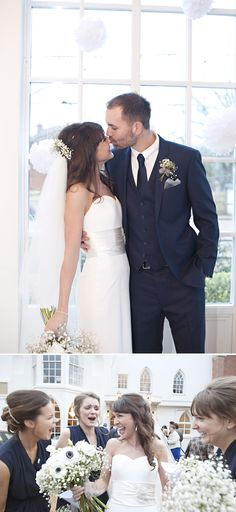 Blue 3 Piece Suite  and love the anemone bouquet for bride with only baby's breath for bridesmaids!!
