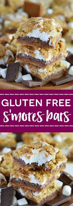 Gluten Free S'mores Bars (with dairy free option) from /whattheforkblog/   http://whattheforkfoodblog.com   gluten free desserts   easy dessert recipes   bar cookies   marshmallow   no fire s'mores   s'mores in the oven   s'mores recipes