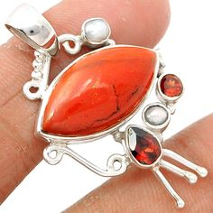 Red Jasper 925 Sterling Silver Pendant Jewelry RDJP205 - JJDesignerJewelry