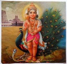 PEACOCK~India Vintage Calendar Print Hindu God Kartikey with Peacock & Snake