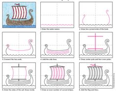 Draw a Viking Ship. PDF tutorial available. #viking #howtodraw #directdrawing #artprojectsforkids