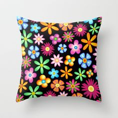 Spring Flowers Colorful Naif Design Throw Pillow by Bluedarkat Lem - $20.00