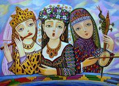 Sevada Grigoryan, Trio, 2013, 50x70 cm, mixed media on cardboard. sold