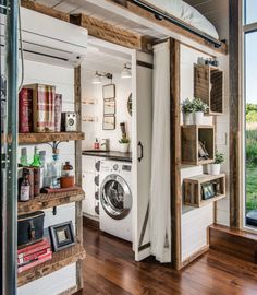 Luxurious tiny house, with wood and white accents