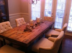 I want to restain our butcher block table and buy some comfy chairs for the family room game table. Kitchen Table Makeover, Diy Kitchen Storage, Kitchen Redo, Basement Kitchen, Kitchen Ideas, Butcher Block Tables, Butcher Block Countertops, Kitchen Decor Signs, Wrought Iron Patio Chairs