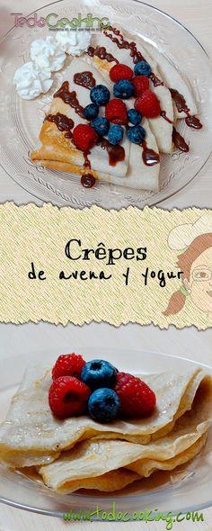 Crêpes de avena y yogur con frutos rojos.  #receta #crepes #avena #yogur #sinlactosa