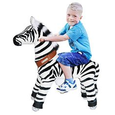 PonyCycle Official PonyCycle Ride On Zebra No Battery No Electricity Mechanical Zebra White & Black Medium for Age Non-Power Walking: PonyCycle toy is