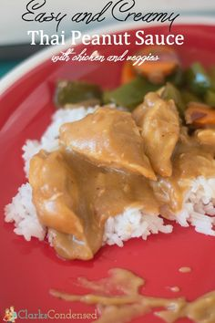 We LOVE this easy Thai Peanut sauce recipe, especially when served over chicken and veggies. #ClarksCondensed