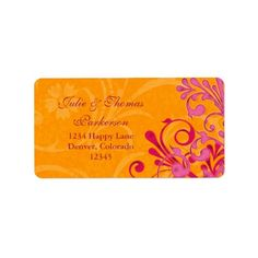 Shopping Floral Orange Pink Wedding Return Address Label we are given they also recommend where is the best to buy
