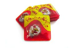 Set of 6 Red Yellow Handmade Glass Coasters – Tutti Frutti Collection £26.00  A set of six square fused glass coasters from the fun, vibrant Tutti Frutti collection.
