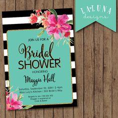 Bridal Shower Invitation, Floral Black & White Stripe Bridal Shower Invite, Gold Glitter Bridal Shower, Watercolor Floral, DIY Printable