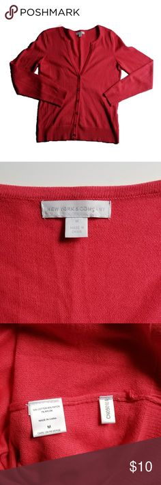 BOGO New York & Company Button Down Shirt New York & Company long sleeve shirt. Button down with glittery buttons.  Red/pink color. Excellent used condition.  Buy one get one free flash sale! Buy any item up to $15 and receive another item of equal or less value for FREE!  (Lesser priced item will be free). Deal must be done during the same transaction via bundling.  No Limit!! Bundle as many qualifying items as you'd like! New York & Company Tops Tees - Long Sleeve