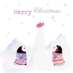 penguin and present christmas card