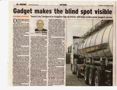 Province Newspaper: Gadget Makes The Blind Spot Visible On December The Province Newspaper , a major metropolitan newspap. The Province, Newspaper, Blinds, Commercial, Gadgets, Trucks, How To Make, Jalousies, Blind