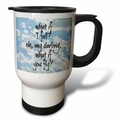 3dRose what if I fall oh my darling what if you fly black letters on sky pic, Travel Mug, 14oz, Stainless Steel