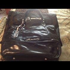 Reduced B Makowsky Black Tote Purse Large Black Tote purse in good condition B Makowsky Bags Totes