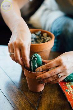DIY Painted Cacti Rocks