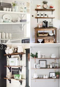 Inspiration for styling our new kitchen shelves - a few of my favorite finds! Kitchen Shelf Inspiration, Coffee Shops, Kitchen Shelves, Go Shopping, All Design, New Kitchen, Your Style, Bookcase, Awesome