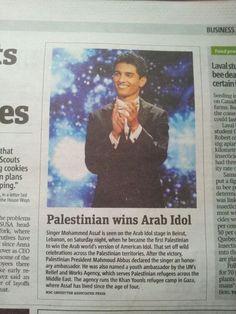 Mohammed Assaf in canadian newspaper. You made history Assaf!! make us proud... allah ye7meek <3 #Arabidol #arab_idol @Ahlam_Alshamsi @raghebalama #ArabIdolLive