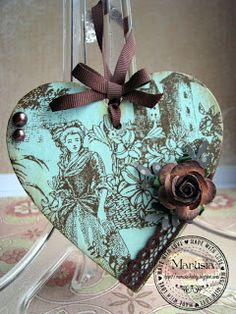 """Marina Scrap"": Декупаж ""Сердце дамы"" Holiday Crafts, Home Crafts, Arts And Crafts, Holiday Decor, Heart Diy, Heart Crafts, Decoupage, Winter Christmas, Christmas Ornaments"