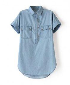 Blue Western Style Double Pockets Tencel Sleeveless Denim Blouse