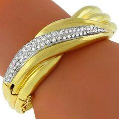 2.25ct_Diamond_Gold_Bangle | New York Estate Jewelry | Israel Rose
