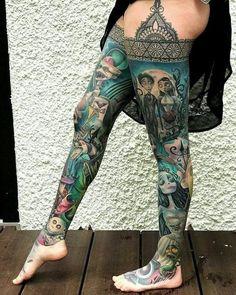Tim Burton leg sleeve { by } swipe to see Full Leg Tattoos, Full Sleeve Tattoos, Sleeve Tattoos For Women, Sexy Tattoos, Body Art Tattoos, Girl Tattoos, Thigh Sleeve Tattoo, Disney Sleeve Tattoos, Disney Tattoos