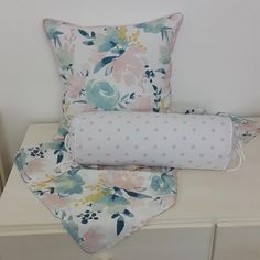 Our Watercolour Floral in pinks, mint, and blue with a touch of yellow is perfect for any little girl's floral nursery!