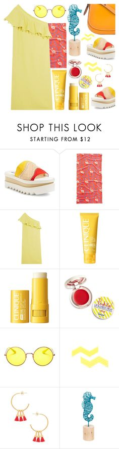"""Sunny Days"" by ana3blue ❤ liked on Polyvore featuring STELLA McCARTNEY, Old Navy, Apiece Apart, Clinique, Supergoop!, Ray-Ban, Gorjana, Midwest of Cannon Falls and Coach"