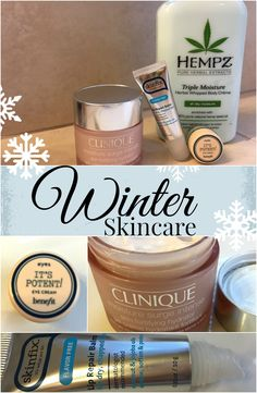 Winter skincare and beauty tips to help protect from dried out skin and lips - Hempz Triple Moisture Herbal Whipped Body Creme, Benefit Cosmetics It's Potent! Eye Cream, Burt's Bees Natural Lip Balm, Clinique Moisture Surge Intense, Water and Skinfix Lip Repair Balm - Everyday Thoughts