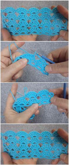 Learn To Crochet Easy Cute Stitch - ilove-crochet Crochet Crafts, Easy Crochet, Crochet Projects, Free Crochet, Crochet Baby, Crochet Shawl Diagram, Crochet Motif, Crochet Stitches Patterns, Knitting Patterns