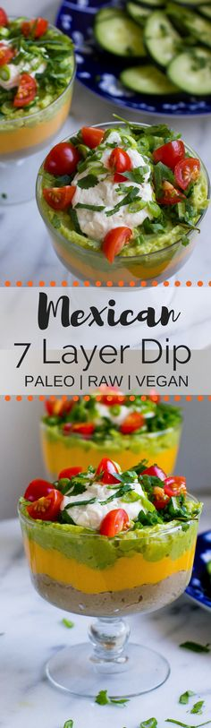 Paleo Vegan Mexican 7 Layer Dip is a healthy option for your next party! Mostly raw and completely bean free, this dip is delicious enough to be a meal on it's own!
