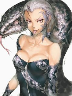 Anime picture 768x1024 with  original fumio (rsqkr) long hair tall image looking at viewer light erotic breasts simple background bare shoulders pink eyes silver hair erect nipples eyeshadow sharp teeth girl animal tongue snake lock scales