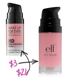 Splurge vs Steal: ELF Makeup Dupes. You could basically buy all of them for the price of one or two of the splurge items.