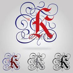 Decorated uppercase Gothic font - Letter K photo