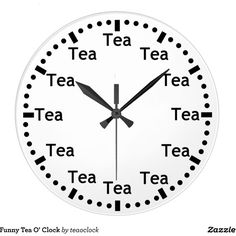 Funny Tea O' Clock ($33) ❤ liked on Polyvore featuring home, home decor and clocks