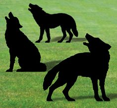 Life-Size Wolf Shadows Wood Pattern Everyone will do a double take when you display these life size silhouettes in your yard or on a building! #diy #woodcraftpatterns