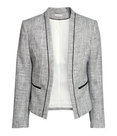 Product Detail | HM US More Capsule Closet, Work Clothing, Figure Fit Jackets, Blazers H M, HM, Gray Blazer, Melang Jackets, Products, Blazers 39 99 HM Melange Jacket $50 : Description - Short, fitted jacket in melange woven fabric. Welt front pockets, contrasting grosgrain details, and no buttons. Lined. - Details - 73% polyester, 26% rayon, 1% metallic fiber. Dry clean only - Imported Product Detail | HM US, $50 Gray blazer