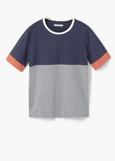 Oversize panel t-shirt | MANGO MAN