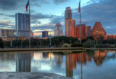 Reflecting pool at sunset: Long Center in Austin, Texas.