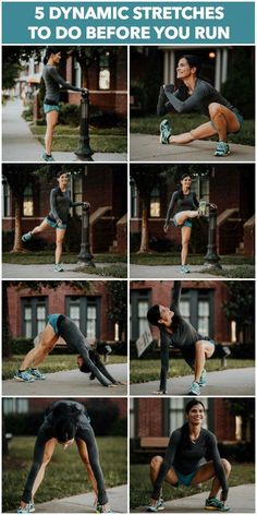 Workout Exercise 5 Dynamic Stretches You Should Do Before Every Run to Prevent Injuries - Five dynamic stretches that you should do before every run to warm up your body and help prevent injuries. Fitness Workouts, Sport Fitness, At Home Workouts, Nike Workout, Mini Workouts, Fitness Classes, Fitness Gear, Fitness Weightloss, Post Workout