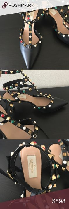 🎀New Valentino Colorful Stone RockStuds Pump Stunning 💯 Authentic Valentino black heels with colorful stones and signature studs. Made in Italy. Leather upper and sole. Brand new never worn.Size 36. Minor imperfections on the right shoe front(tiny line next to the black stone in center in the 1st pic), not noticeable at all! No dust bag or box. 🚫No trade ✅Reasonable offer welcome💜Pet+Smoke Free Home 🚀Fast shipping🚫Lowball offers🚫❤️Prefer transaction via posh for both parties…