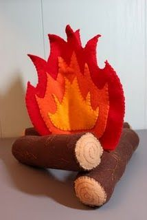 "I am currently making this felt campfire for my classroom library area. LOVE IT! All thanks to the book ""Big Little Felt Universe""."