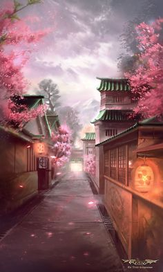 Cherry Blossom by Nele-Diel on DeviantArt Anime Backgrounds Wallpapers, Anime Scenery Wallpaper, Cute Anime Wallpaper, Pretty Wallpapers, Fantasy Art Landscapes, Fantasy Landscape, Beautiful Landscapes, Anime Cherry Blossom, Cherry Blossom Wallpaper