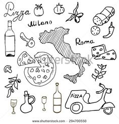 stock-vector-italy-doodles-elements-hand-drawn-set-with-pizza-scooter-wine-cheese-and-map-drawing-doodle-294700550.jpg (450×470)