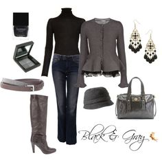 Love the gray peplum jacket with black lace trim over straight leg jeans tucked into boots.  Hat or no hat?  Butter polish in gray pulls it all together - or is it the fedora/bucket hat that pulls it all together?